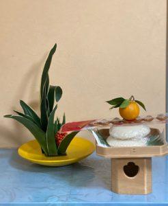 鏡餅と万年のお生花